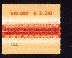 614174590 ESTLAND ESTONIA 2010 ** MNH  SCOTT 630 FABRIC DESIGN ORANGE - Estonie