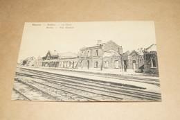 Menen,Menin,superbe Carte,la Gare En Ruines,très Bel état De Collection - Menen
