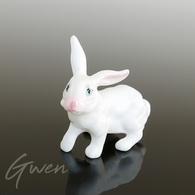 Miniature Ancienne Lapin 4 Cm Biscuit Porcelaine Creuse Animal Figurine Japon - Ceramics & Pottery