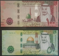 "Saudi Arabia 2017 2 Banknotes 100 Riyals & 50 Riyals Serial ""A"" Pick New UNC - Arabie Saoudite"