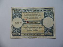 Coupon Réponse International  20 Francs CFA  Afrique Occidentale Française Surchargé D'origine 40 Francs  Daloa - Postal Stamped Stationery