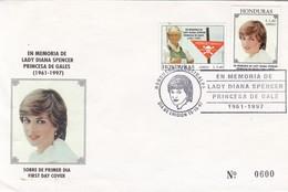 EN MEMORIA DE LADY DIANA SPENCER PRINCESA DE GALES. FDC 1997 HONDURAS- BLEUP - Honduras