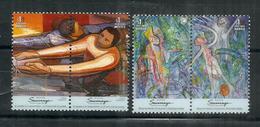 "Mexican Muralist: Alfaro Siqueiros ""Le Peuple"" & Peintre Surrealiste Roberto Matta ""Bonheur""  4 Timbres Neufs ** MEXIQUE - Arts"