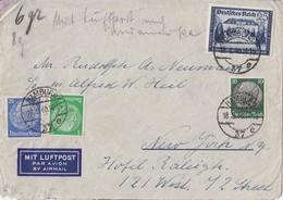 DR Luftpostbrief Mif Minr.515,522,525,713 Hamburg 18.9.40 Gel. In USA Zensur - Deutschland