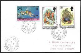 Iles Caïmans 1981 - Lettre Avec YT   459(tarpon) Et 461 (crabe)   Et  481 (handicapés) - - Iles Caïmans
