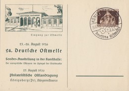 DR Sonderkarte 24. Dt. Ostmesse EF Minr.617 SST Königsberg 26.8.36 - Deutschland
