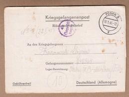 Germany 1945 World War II Prisoner Of War Letter - Briefe U. Dokumente