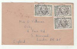 JOS NIGERIA COVER  3x 1d Bornu HORSEMEN HORSE Stamps To GB - Nigeria (1961-...)