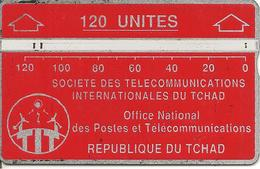 CARTE MAGNETIQUE-TCHAD-120U-ROUGE-V° N° En Bas A Droite Inversé-244C13401-UTILISE-BE - Tsjaad