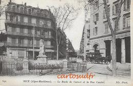 06 NICE LE BUSTE DE CARNOT - LA RUE CASSINI - TRAM & ATTELAGE MORTUAIRE - ASSURANCES  TBE - Transport Urbain - Auto, Autobus Et Tramway