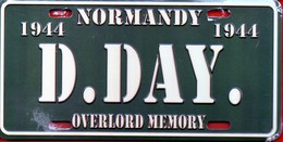 WW2 - Plaque Immatriculation Véhicule -  Normandy 1944 - D.DAY - Overlord Memory - 1939-45