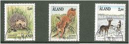 Aland Åland 1991 Mammals. Hedgehog (Erinaceus Europaeus), Squirrel (Sciurus Vulgaris), Deer (Capreolu, Mi 44-46, Cancell - Aland