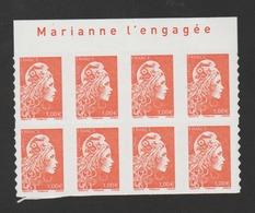 """FRANCE / 2018 / Y&T N° AA 1600 ** : Marianne D'YZ (adhésif De Feuille) 1.00 € X 8 BdF Haut """"Marianne L'engagée"""" - Adhesive Stamps"""