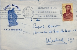 """1960 , SOBRE COMERCIAL , """" HOSTAL FLORIDO """" , CIRCULADO ENTRE VALLADOLID Y MADRID , ED. 1301 - 1951-60 Cartas"""