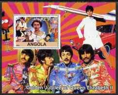 80775 Angola 2002 Golden Jubilee Of Queen Elizabeth II #1 Perf S/sheet (concorde Aviation Beatles Pops Rock Elvis) U/m - Angola