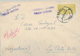 1959 , MALAGA , CERTIFICADO CIRCULADO A LA PLATA ( ARGENTINA ) , MARCAS DE FRANQUEO INSUFICIENTE , LLEGADA A L DORSO - 1951-60 Briefe U. Dokumente