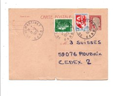 OBLITERATION SUR ENTIER DECARIS DE LE MARTINET GARD DU 17/9/1975 - Marcophilie (Lettres)