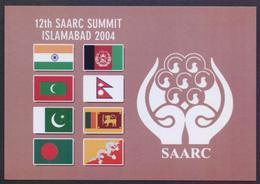 PAKISTAN POST CARD - 12th SAARC SUMMIT At ISLAMABAD 2004, Flags Of India Bangladesh Afghanistan Bhutan POSTCARD - Other