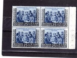 ITALIA REPUBBLICA ITALY REPUBLIC 1952 MARTIRI DI BELFIORE CENTENARIO DEL MARTIRIO MNH QUARTINA NUMERO DEL FOGLIO BLOCK - 6. 1946-.. Repubblica