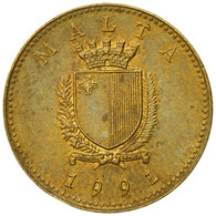 Monnaie, Malte, Cent, 1991, British Royal Mint, TB+, Nickel-brass, KM:93 - Malta