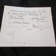 WW1 British Artillery Specialist Certificate  1915 - 1914-18