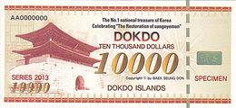 Specimen Île DOKDO Corée 10 000 Dollars 2013 UNC - Fictifs & Spécimens