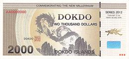 Specimen Île DOKDO Corée 2 000 Dollars 2013 UNC - Ficción & Especímenes