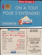 F220.2  TELECARTE EUROPE 2 ( 50 U) N° 6 CH  A 215724 ( 1 AVEC BARRE - France