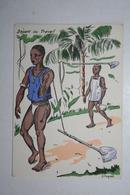 Afrique - Illustration P. Huguet - Départ Au Travail - Cartes Postales