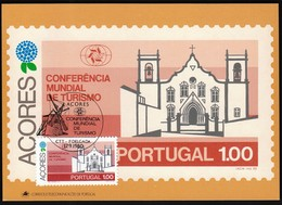 Portugal Azores, Acores 1980 / World Tourism Conference, Manila, Philippines / Windmill, Church / Maximum Card, MC, MK - Other