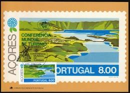 Portugal Azores, Acores 1980 / World Tourism Conference, Manila, Philippines / Windmill, Lake / Maximum Card, MC, MK - Ferien & Tourismus
