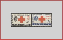 Ascenzion 1963 - Cat. 91/92 (MNH **/os) Croce Rossa - Red Cross (leggera Ossidazione) (010922) - Ascension