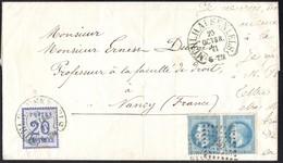 Lettre De Mulhouse Pour Nancy Du 23/10/1871 AFFRANCHISSEMENT MIXTE Cachet Fer à Cheval  TB - Alsace-Lorraine