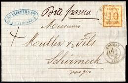 Tbre D'Als.-Lor. N°5 Bistre-orange BURELAGE RENVERSE Lettre De Colmar Pour Schirmeck Du 08/11/1870  Marque Poste Franco - Alsace-Lorraine