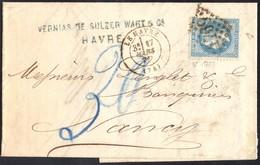 Tbre De France N°29 Sur Lettre Du Havre Pour Nancy Du 17/03/1871 Taxe 20 Bleu Modifié En 30 Bleu Cachet GC 1769 - Alsace-Lorraine