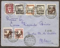 1937 Vaticano Vatican Storia Postale MEDAGLIONI 11 Valori (L.7) Su Busta Racc.798 VATICANO - MILANO - Vatican