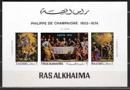 Ras Al-Khaima 1970 Mi  361-363 Deluxe Block MNH - Ra's Al-Chaima