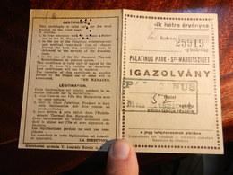 18066) BUDAPEST ISOLA MARGHERITA FIUME DANUBIO MARGITSZIGET IGAZOLVANY PASS - Biglietti Di Trasporto