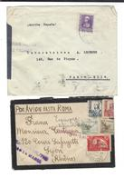 "CENSURA Militar Las Palmas - Censura Santa Maria "" Par Avion Jusqu'à Rome "" 1938 - Marcas De Censura Nacional"