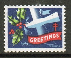 Bermuda Christmas Charity Label From 1949 In Mounted Mint Condition. - Cinderellas