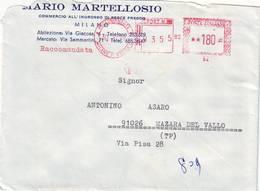 Affrancatura Meccanica Rossa Milano Su Busta Raccomandata MARTELLOSIO - Affrancature Meccaniche Rosse (EMA)