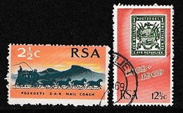 South Africa 1969 Used Stamp(s) Stamp Centenary 384-385 #3523 - Stamp's Day