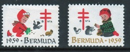Bermuda Christmas Charity Labels From 1959 In Mounted Mint Condition. - Cinderellas