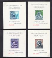 ESPAÑA1961.CENTENARIO DE VELAZQUEZ .EDIFIL Nº 1344/1347. HOJAS BLOQUE   NUEVAS SIN  GOMA   SES360GRANDE - 1931-Aujourd'hui: II. République - ....Juan Carlos I