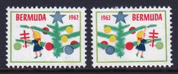 Bermuda  Christmas Charity Labels From 1962 In Mounted Mint Condition. - Cinderellas