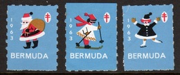 Bermuda  Christmas Charity Labels From 1963 In Mounted Mint Condition. - Cinderellas