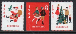 Bermuda  Christmas Charity Labels From 1964 In Mounted Mint Condition. - Cinderellas