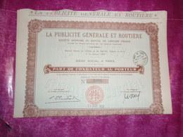 LA PUBLICITE GENERALE ET ROUTIERE (1931) - Shareholdings