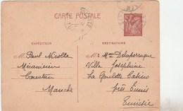ENTIER IRIS 80C CARENTAN 29/11/41 POUR TUNISIE LA GOULETTE - Cartes Postales Types Et TSC (avant 1995)