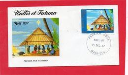 Pli En 1° Jour De Wallis Et Futuna ( Noël 1987 ) - Timbres